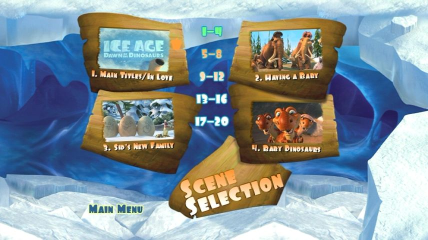 Ice Age Dawn Of The Dinosaurs 2009 Dvd Menu