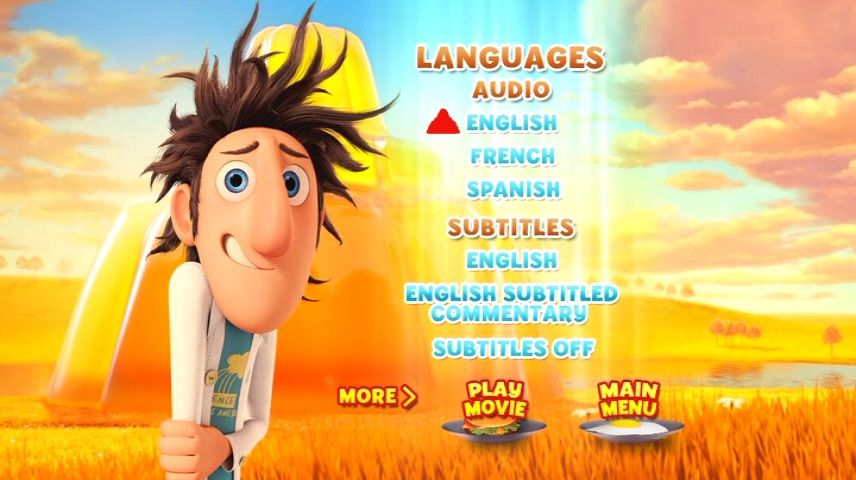 Cloudy With A Chance Of Meatballs 2009 Dvd Menu