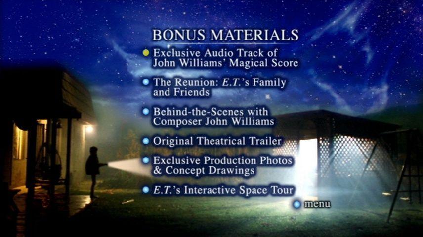 E T The Extra Terrestrial 1982 Dvd Menu